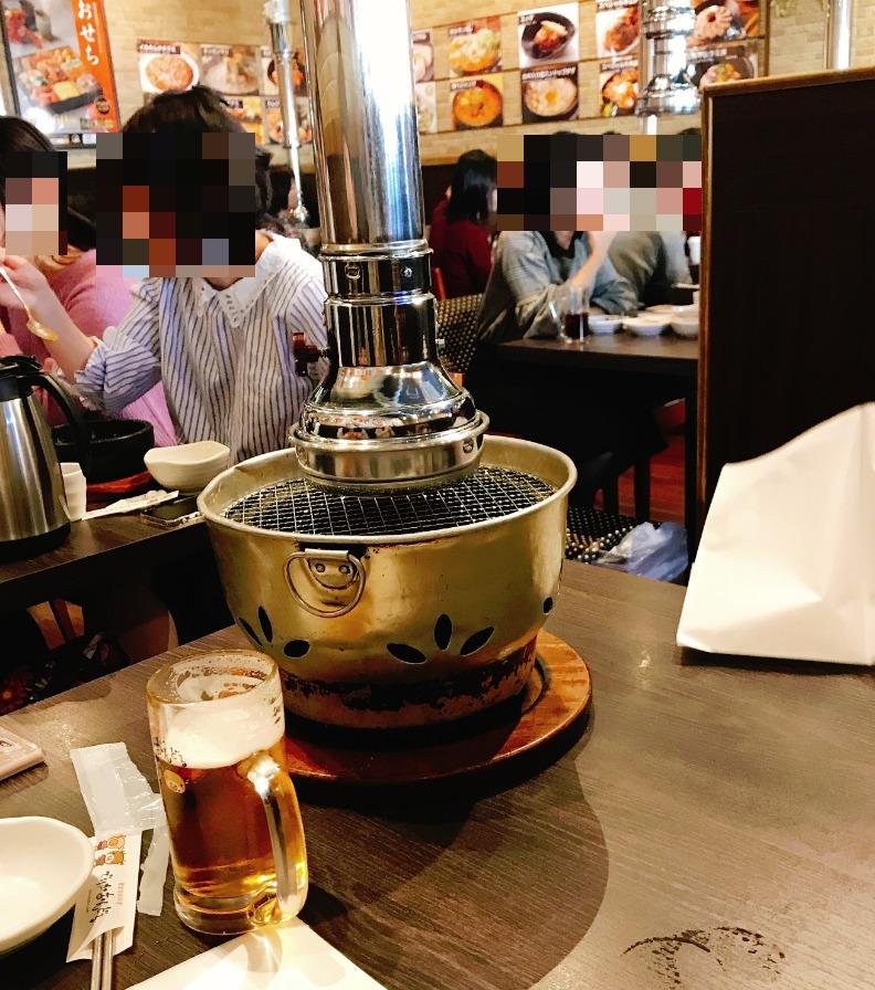 焼肉を頼むとテーブルに七輪が設置されます